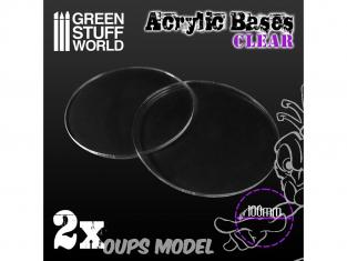 Green Stuff 509236 Socles Acryliques ROND 100mm Transparent