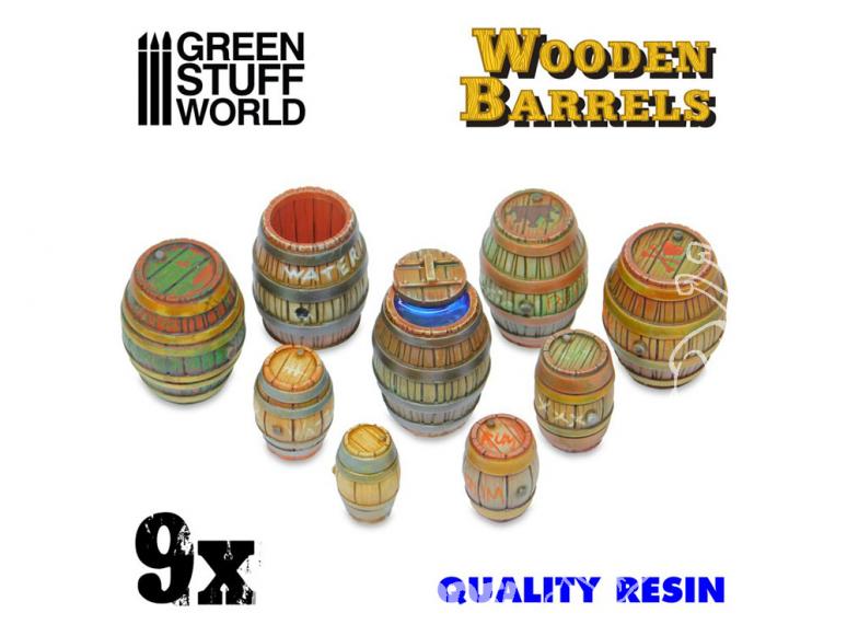 Green Stuff 508932 9x Barils en bois en Résine