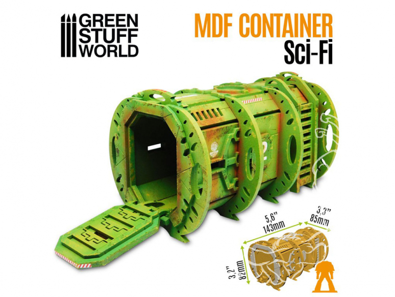 Green Stuff 508192 Conteneur SciFi en bois MDF 1/52 et 1/48