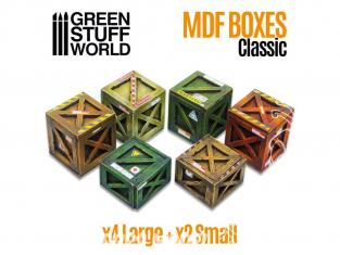 Green Stuff 507973 Caisses en Bois Classiques en bois MDF 1/72 1/35 et 1/48