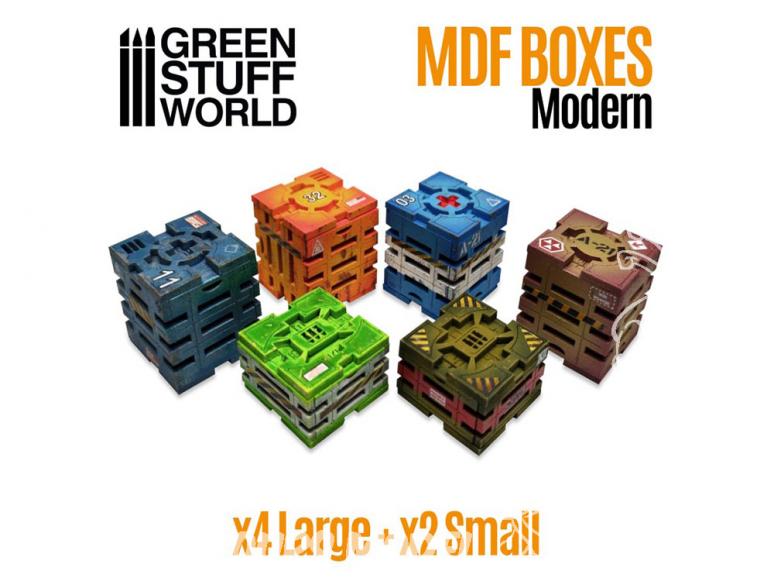 Green Stuff 507980 Caisses Futuristes en bois MDF 1/72 1/35 et 1/48