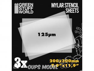 Green Stuff 508529 Feuilles de Pochoir A4 Mylar x3