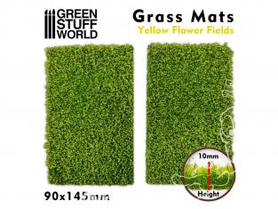 Green Stuff 508406 Découpe de Tapis d'Herbe Champ de Fleurs Jaunes