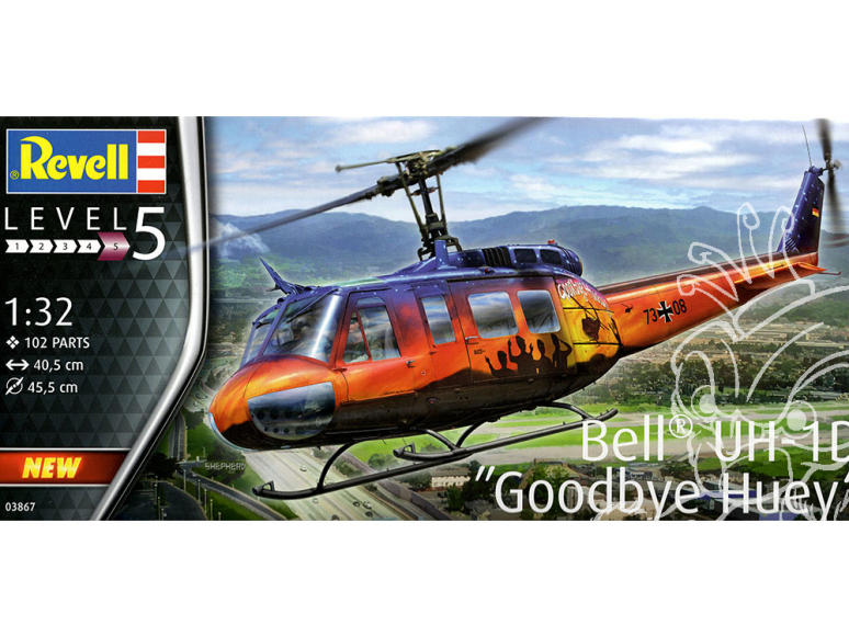 """revell maquette helicoptere 03867 Bell UH-1D """"Goodbye Huey"""" 1/32"""