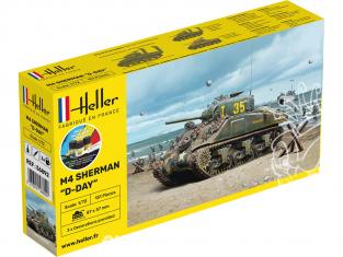 Heller maquette militaire vehicule 56892 M4 SHERMAN D DAY inclus peintures principale colle et pinceau 1/72