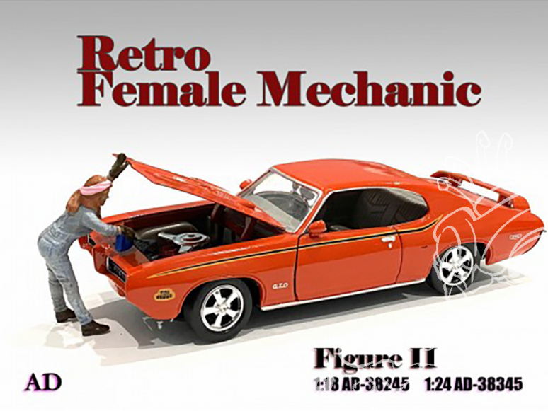 American Diorama figurine AD-38345 Retro femme Mécano II 1/24