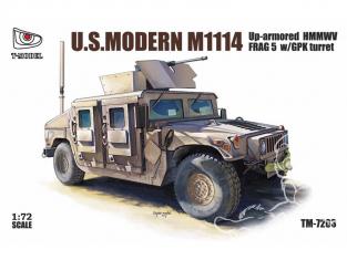 T-Model TM-7203 M1114 US HMMWV avec tourelle GPK maquette militaire 1/72