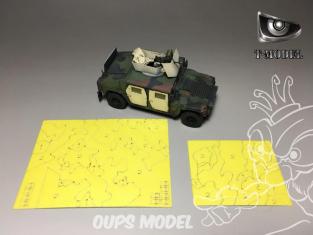 T-Model TK72016 Masque peinture camouflage pour M1114 US HMMWV 1/72