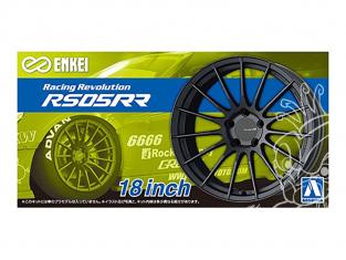"""Aoshima maquette voiture 61190 Jantes Enkei Racing Revolution RS05RR 18"""" et pneus 1/24"""