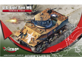Mirage maquette militaire 726077 U.S. Light Tank M5 TUNISIA 1942 1/72