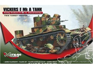 Mirage maquette militaire 726003 Vickers E Mk A [char polonais à double tourelle] 1/72