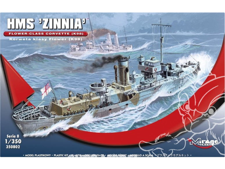 Mirage maquette bateau 350802 HMS Zinnia Corvette de classe Flower (K98) 1/350