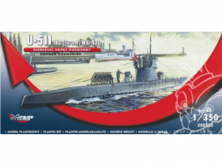Mirage maquette Sous-marins 350502 U-511 (IXC TURN I + WGr42) sous-marin allemand 1/350