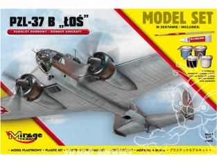 Mirage maquette bateaux 872092 Model Set PZL-37B 'ŁOŚ' Avion bombardier polonais 1/72
