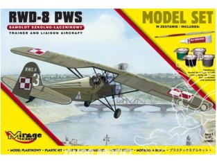 Mirage maquette avion 842092 Model Set RWD-8 (PWS) Avion d'entraînement et de liaison polonais 1/48