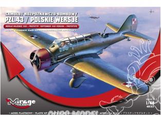 Mirage maquette avion 481313 PZL P.43 BOMBARDIER POLONAIS version prototype et 1939 1/48