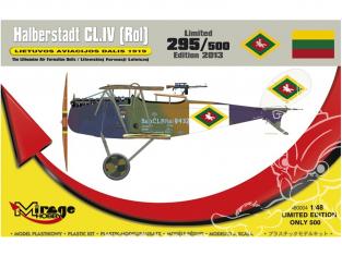 Mirage maquette avion 480004 Halberstadt CL.IV (Rol) LIETUVOS AVIACIJOS DALIS 1919 lituanien série limitée 1/48