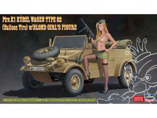 Hasegawa maquette voiture 52273 Pkw.K1 Cubel Wagen Type 82 avec figurine de fille blonde 1/24