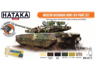 Hataka Hobby peinture laque Orange Line CS112 Ensemble de peinture AFV de l'armée ukrainienne moderne 6 x 17ml