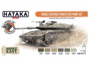Hataka Hobby peinture laque Orange Line CS114 Ensemble de peinture Israeli Defence Forces AFV 6 x 17ml