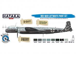 Hataka Hobby peinture acrylique Blue Line BS110 Set de peinture Peinture de la Luftwaffe de la millieu de guerre 8 x 17ml