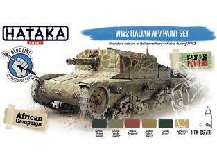 Hataka Hobby peinture acrylique Blue Line BS106 Set de peinture AFV italien WW2 6 x 17ml