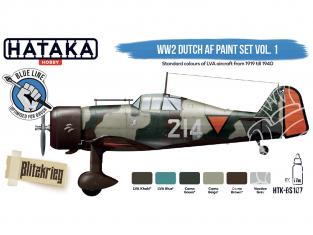 Hataka Hobby peinture acrylique Blue Line BS107 Ensemble de peinture néerlandais WW2 AF vol. 1 6 x 17ml