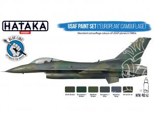 Hataka Hobby peinture acrylique Blue Line BS10 Ensemble de peinture USAF (camouflage «européen») 6 x 17ml