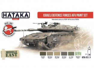 Hataka Hobby peinture acrylique Red Line AS114 Ensemble de peinture AFV des Forces de défense israéliennes 6 x 17ml