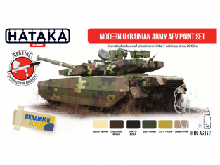 Hataka Hobby peinture acrylique Red Line AS112 Ensemble de peinture AFV de l'armée ukrainienne moderne 6 x 17ml