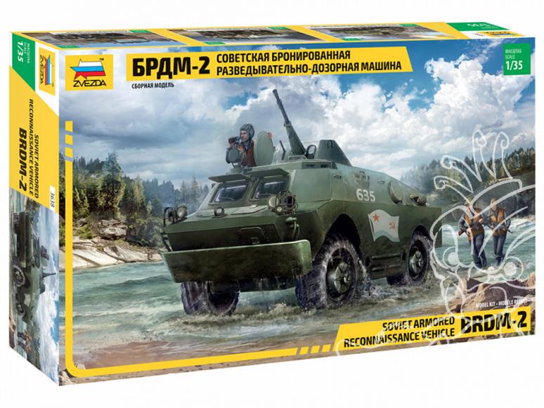 Zvezda maquette militaire 3638 Véhicule blindé de reconnaissance et de patrouille soviétique BRDM-2 1/35