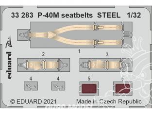 Eduard photodécoupe avion 33283 Harnais métal P-40M Trumpeter 1/32