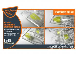 """Clear Prop kit d'amelioration avion CPA48003 XA2D-1 masque de peinture Skyshark en """"papier kabuki jaune"""" 1/48"""