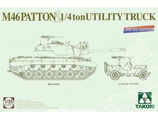 Takom maquette militaire 2117X M46 Patton & Jeep 1/4ton Utility truck Edition Limitée 1/35