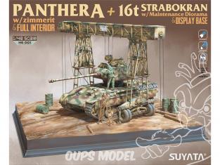 Suyata maquette militaire 001 Panther A w/ Zimmerit et intérieur + Grue 16t Strabokran & Base 1/48