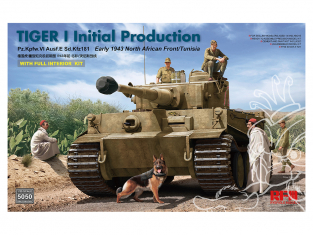 Rye Field Model maquette militaire 5050 Tigre I Initial Production Début 1943 Intérieur complet Afrique du Nord / Tunisie 1/35