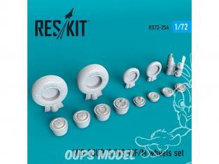 ResKit kit d'amelioration Avion RS72-0254 Jeu de roues MiG-23 (UB / S / MS / MF / M) pour kit Zvezda, R.V.Aircraft, KP 1/72