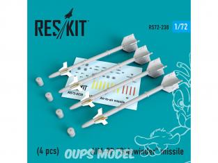 "ResKit kit d'amelioration Avion RS72-0238 Missile AIM-9P ""Sidewinder"" (4 pieces) 1/72"