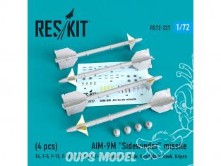 "ResKit kit d'amelioration Avion RS72-0237 Missile AIM-9P ""Sidewinder"" (4 pieces) 1/72"