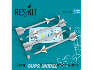 "ResKit kit d'amelioration Avion RS72-0234 Missile AIM-9E ""Sidewinder"" (4 pieces) 1/72"