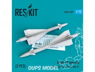 ResKit kit d'amelioration Avion RS72-0247 Missile R-40 TD (2 pieces) 1/72