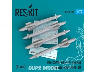 ResKit kit d'amelioration Avion RS72-0177 Missile Kh-25MR (AS-10 Karen) avec APU-68 (4 pieces) 1/72