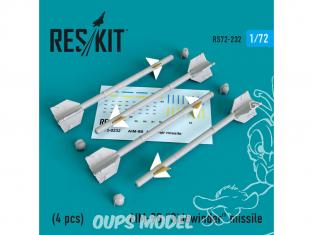 "ResKit kit d'amelioration Avion RS72-0232 Missile AIM-9B ""Sidewinder"" (4 pieces) 1/72"