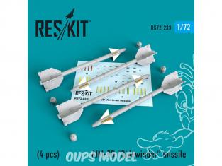 """ResKit kit d'amelioration Avion RS72-0233 Missile AIM-9D """"Sidewinder"""" (4 pieces) 1/72"""