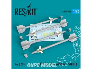 "ResKit kit d'amelioration Avion RS72-0235 Missile AIM-9J ""Sidewinder"" (4 pieces) 1/72"