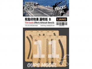 Liang Model 0011 Pochoir aérographe traces de pneus B 1/32 - 1/35 - 1/48