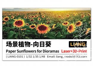 Liang Model 0101 Tournesols en papier pour diorama x6 1/35 - 1/48 - 1/72