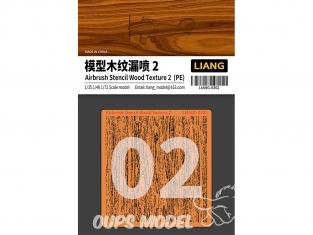 Liang Model 0302 Pochoir aérographe photodécoupe Texture bois 2 1/35 - 1/48 - 1/72