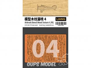 Liang Model 0304 Pochoir aérographe photodécoupe Texture bois 4 1/35 - 1/48 - 1/72