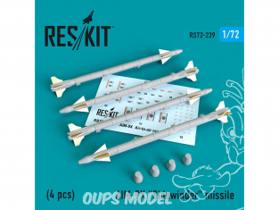 ResKit kit d'amelioration Avion RS72-0239 AIM-9X (4 pieces) 1/72